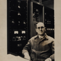 b1f52a - Engineer Ben Franklin at WJLD transmitter - 1949.jpg