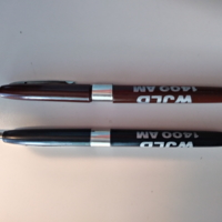 b8f37a - two signature pens  - brown and black - with WJLD advertising - 1986.jpg