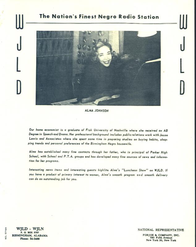 Promo Flyer, Alma Johnson at WJLD
