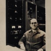b1f52a - Engineer Ben Franklin at WJLD transmitter - 1949.jpg